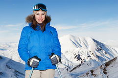 Attractive woman posing against mountains Stock Images