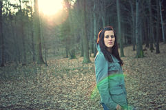 Attractive woman posing in a autumn forest Royalty Free Stock Images