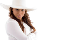 Attractive woman posing in hat Stock Photo