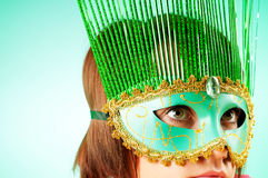 Attractive woman posing in the  mask Stock Photos
