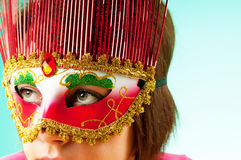 Attractive woman posing in the  mask Royalty Free Stock Photography