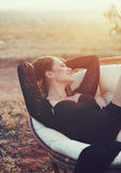 Attractive woman posing outdoors Stock Photos