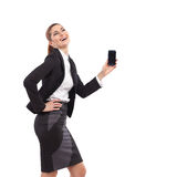 Attractive woman posing with smart phone. Stock Image