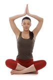 Attractive woman practicing yoga eyes closed royalty free stock photos
