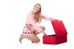 Attractive woman  preparing for vacation Royalty Free Stock Image