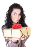 Attractive woman with present over white Stock Image