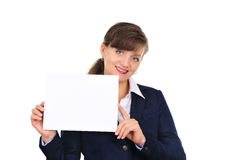 Attractive woman presenting Royalty Free Stock Image