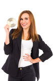 Attractive woman presents new computer software. Royalty Free Stock Photos