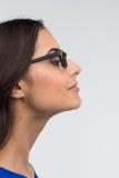 Attractive woman profile  on white. Stock Photo