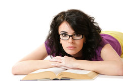Attractive woman reading book Royalty Free Stock Photos