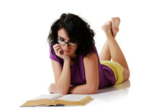 Attractive woman reading book Royalty Free Stock Images