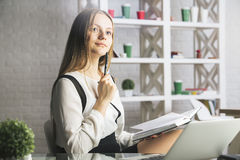 Attractive woman reading book Royalty Free Stock Photo