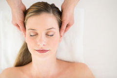 Attractive Woman Receiving Head Massage At Health Spa Stock Photos