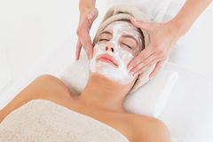 Attractive woman receiving treatment at spa center Royalty Free Stock Photo