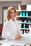 Attractive woman receptionist Stock Photo