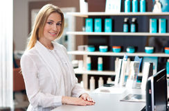 Attractive woman receptionist Stock Image