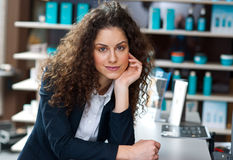 Attractive woman receptionist Royalty Free Stock Image