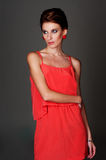 Attractive woman in red dress Royalty Free Stock Images