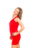 Attractive woman in red dress Royalty Free Stock Photography