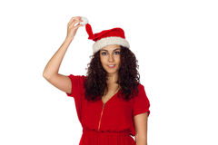 Attractive woman in red holding her Christmas hat Royalty Free Stock Photo