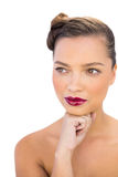 Attractive woman with red lips Stock Photography
