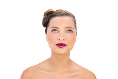 Attractive woman with red lips looking up Royalty Free Stock Photo