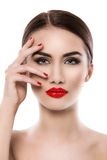 Attractive woman with red lipstick Stock Images
