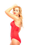 Attractive woman in red swimsuit Royalty Free Stock Photography
