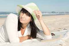 Attractive woman relax on the beach Stock Photos