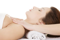 Attractive  woman relaxing beeing massaged Royalty Free Stock Image