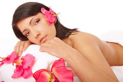 Attractive Woman Relaxing Spa royalty free stock photography