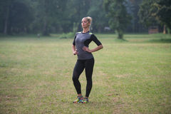 Attractive Woman Resting Before Fitness And Exercise Stock Photography