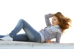 Attractive woman resting outdoors Stock Photography