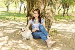 Attractive woman resting in shade with her dog. Attractive woman resting in the shade of a tree with her cute little long haired toy breed dog Stock Photo