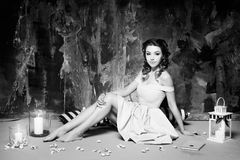 Attractive woman in retro, vintage, noir style. Black and white Royalty Free Stock Photography