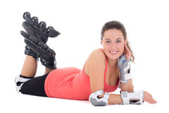 Attractive woman in roller skates lying isolated on white backgr Royalty Free Stock Images