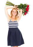 Attractive woman roses Royalty Free Stock Photography