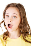 Attractive woman's face in shock expression. Stock Images