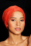 Attractive woman's face in turban. Closeup. Stock Photo