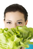 Attractive woman with salat Stock Images