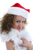 Attractive woman in Santa Cap Stock Photos