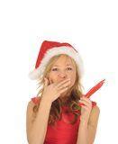Attractive woman in Santa Cap with chili pepper Royalty Free Stock Photo