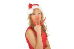 Attractive woman in Santa Cap with chili pepper Stock Photo