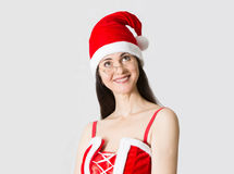 Attractive woman in Santa Clause costume portrait Royalty Free Stock Image
