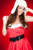 Attractive  woman in santa costume posing Stock Image