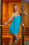 Attractive woman in sauna Royalty Free Stock Images