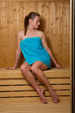 Attractive woman in sauna Stock Photos