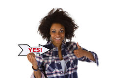 Attractive woman says Yes Royalty Free Stock Image