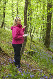 Attractive Woman Scans Woodland Terrain with Field Guide. Royalty Free Stock Image