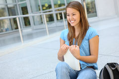 Attractive Woman at School Library Royalty Free Stock Images